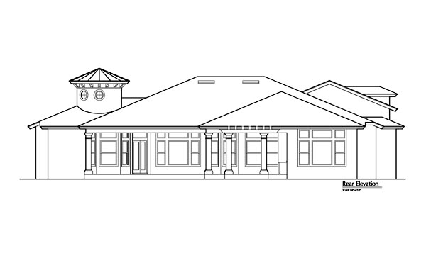 Mediterranean Southwest House Plan 74211 Rear Elevation