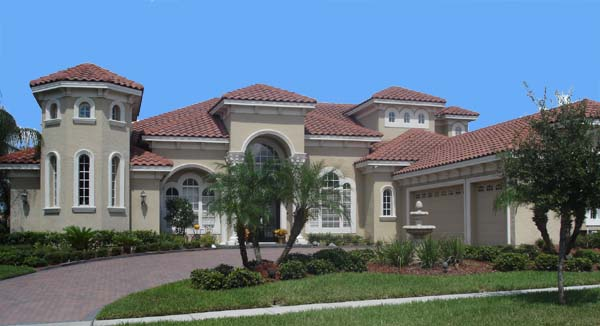Mediterranean, Southwest House Plan 74215 with 4 Beds, 5 Baths, 3 Car Garage Front Elevation