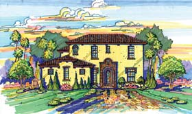 House Plan 74227 | Mediterranean Southwest Style Plan with 2838 Sq Ft, 3 Bedrooms, 5 Bathrooms, 2 Car Garage Elevation