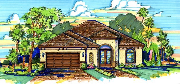 Mediterranean House Plan 74236 with 3 Beds, 2 Baths, 2 Car Garage Elevation