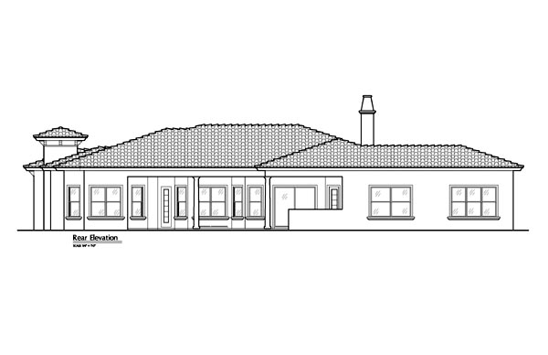 Mediterranean Southwest Rear Elevation of Plan 74237