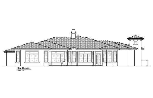 Mediterranean Southwest House Plan 74238 Rear Elevation