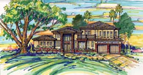 House Plan 74242 | Mediterranean Southwest Style Plan with 4273 Sq Ft, 4 Bedrooms, 6 Bathrooms, 2 Car Garage Elevation