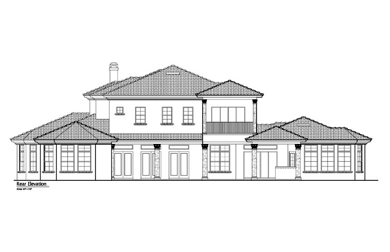 Mediterranean Southwest House Plan 74243 Rear Elevation