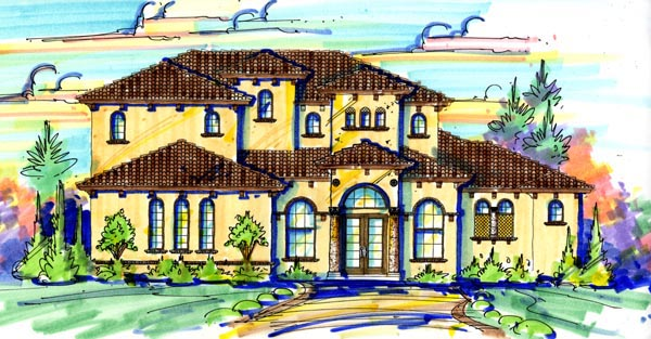 Mediterranean House Plan 74261 with 4 Beds, 4 Baths, 2 Car Garage Elevation