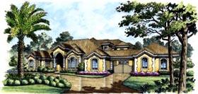 Mediterranean House Plan 74284 with 3 Beds, 5 Baths, 4 Car Garage Elevation