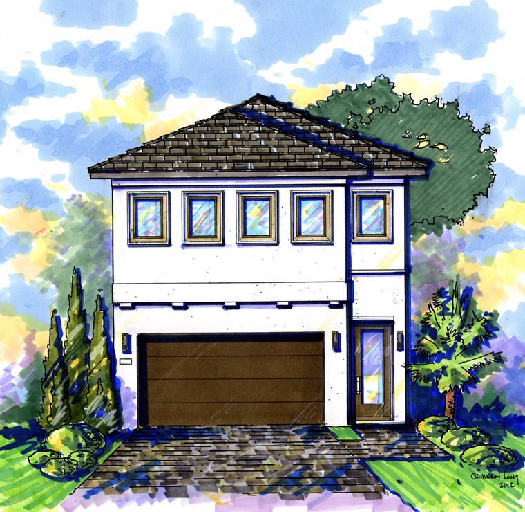Contemporary House Plan 74287 with 5 Beds , 4 Baths , 2 Car Garage Elevation