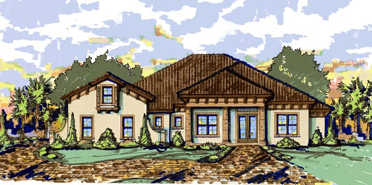 Mediterranean House Plan 74289 Elevation
