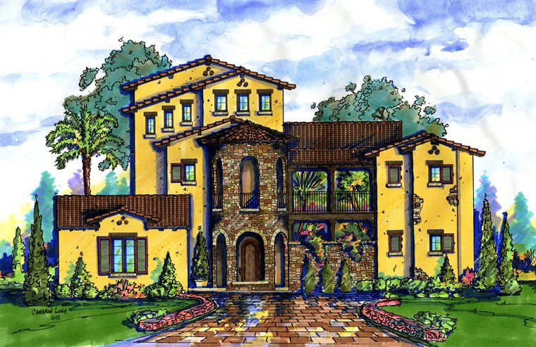 House Plan 74296 with 5 Beds, 8 Baths, 2 Car Garage Front Elevation