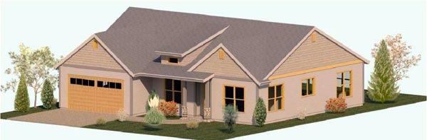 Coastal Craftsman Ranch House Plan 74303 Elevation
