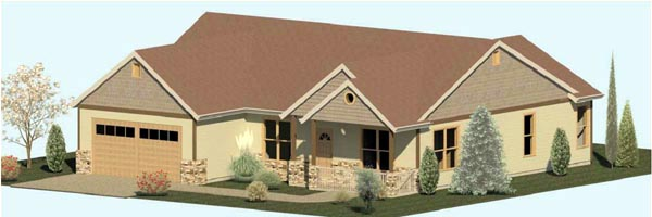Country Craftsman Traditional House Plan 74305 Elevation