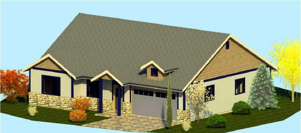 Coastal Cottage Country Craftsman Ranch House Plan 74309 Elevation