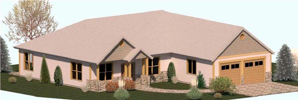 Country, Craftsman, Ranch, Traditional House Plan 74310 with 3 Beds , 3 Baths , 2 Car Garage Elevation