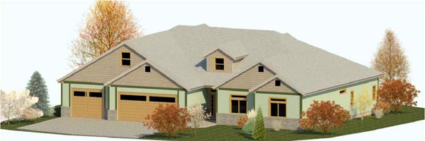 Country , Craftsman , Ranch , Traditional , Elevation of Plan 74311