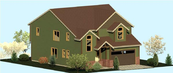 Country Craftsman Farmhouse Elevation of Plan 74330