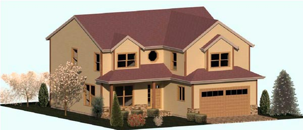 Country, Farmhouse, Traditional House Plan 74332 with 3 Beds, 3 Baths, 2 Car Garage Elevation