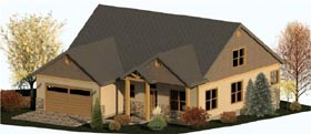 Coastal , Country , Craftsman House Plan 74337 with 3 Beds, 3 Baths, 2 Car Garage Elevation