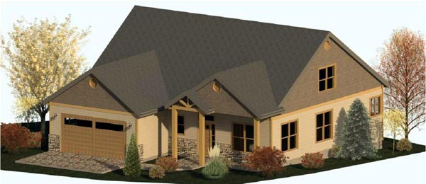Coastal Country Craftsman Elevation of Plan 74337