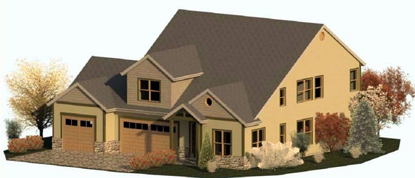 Country Craftsman Traditional Elevation of Plan 74340