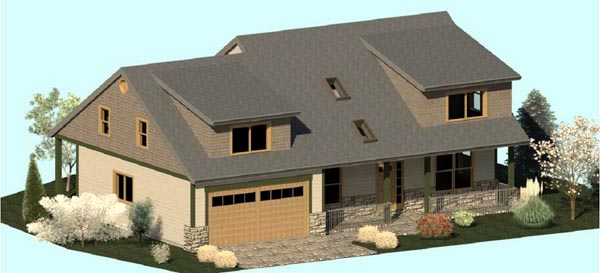 Cape Cod Coastal Traditional Elevation of Plan 74341