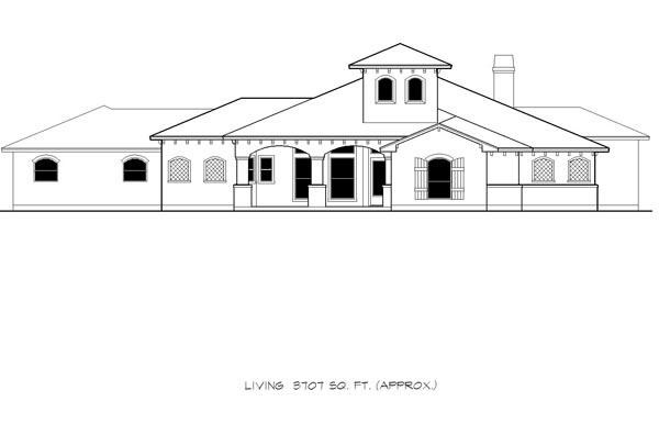 Mediterranean House Plan 74509 with 4 Beds, 3 Baths, 3 Car Garage Picture 2