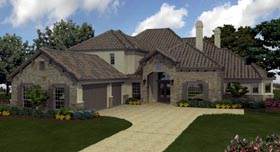 European , Mediterranean House Plan 74510 with 5 Beds, 6 Baths, 3 Car Garage Elevation