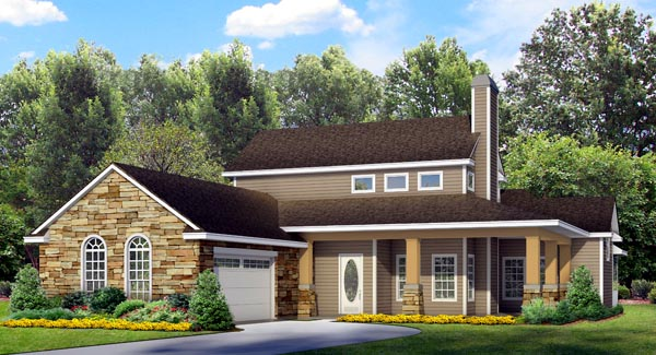 Country , Craftsman , Southern House Plan 74511 with 4 Beds, 3 Baths, 2 Car Garage Elevation