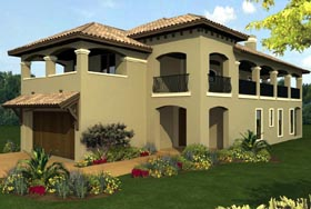 House Plan 74516 | Mediterranean Style Plan with 2780 Sq Ft, 3 Bedrooms, 3 Bathrooms, 2 Car Garage Elevation