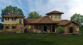 Italian Mediterranean Tuscan House Plan 74532 Elevation