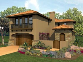 House Plan 74540 | Mediterranean Style Plan with 2374 Sq Ft, 4 Bedrooms, 3 Bathrooms, 2 Car Garage Elevation