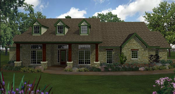 Country , Ranch , Southern House Plan 74551 with 4 Beds, 4 Baths, 3 Car Garage Elevation