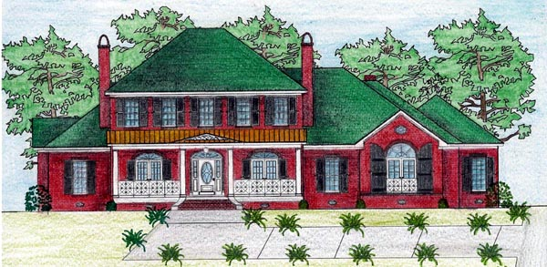 Traditional House Plan 74627 with 5 Beds, 3 Baths, 3 Car Garage Elevation