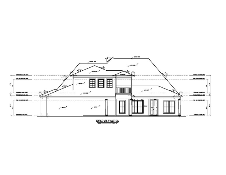 European House Plan 74630 with 3 Beds , 4 Baths , 3 Car Garage Rear Elevation