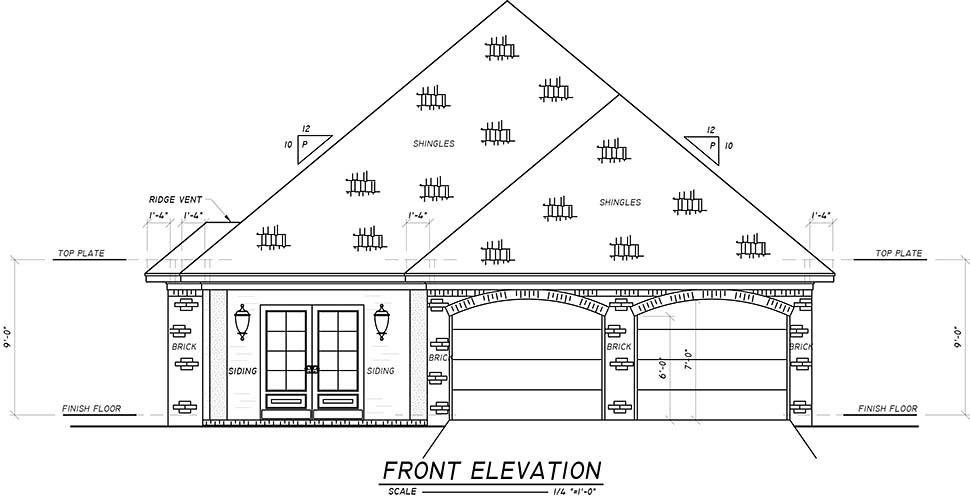 European, French Country House Plan 74634 with 3 Beds, 2 Baths, 2 Car Garage Picture 3