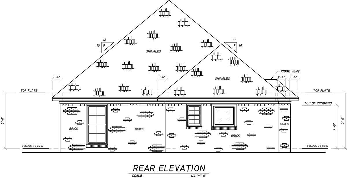 European, French Country House Plan 74634 with 3 Beds, 2 Baths, 2 Car Garage Rear Elevation