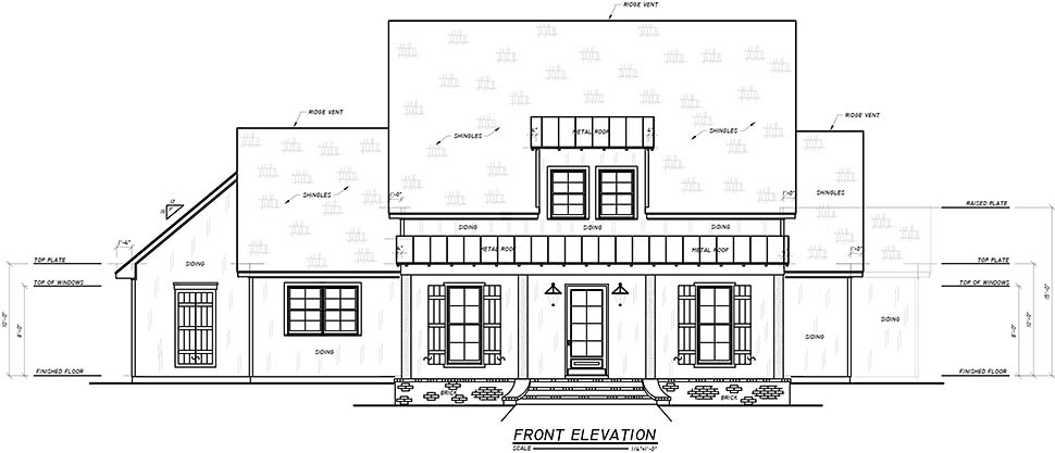 Farmhouse, Southern, Traditional House Plan 74644 with 3 Beds, 4 Baths, 3 Car Garage Picture 2