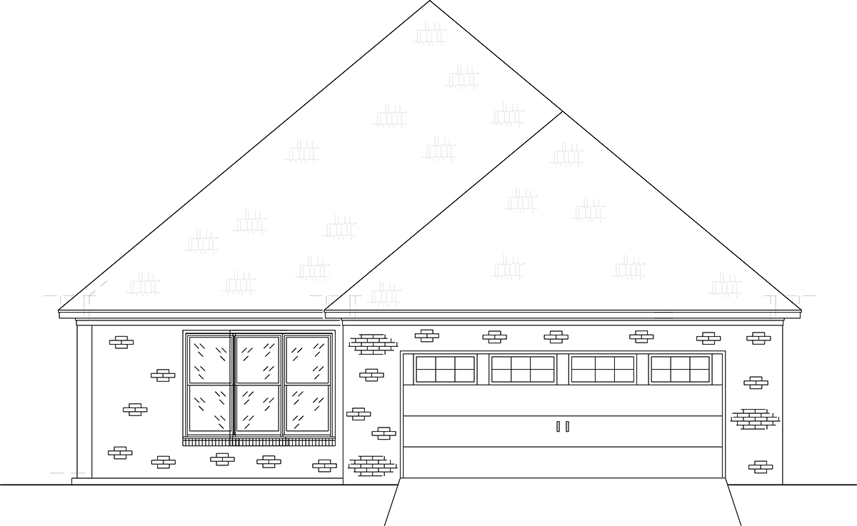 Craftsman, Traditional House Plan 74655 with 4 Beds, 3 Baths, 2 Car Garage Rear Elevation