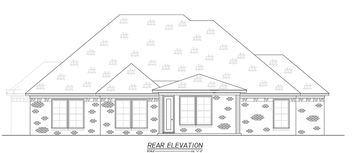 French Country, Traditional House Plan 74658 with 3 Beds, 3 Baths, 2 Car Garage Rear Elevation