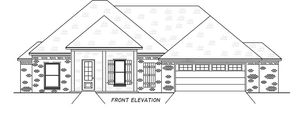 French Country, Traditional House Plan 74665 with 3 Beds, 2 Baths, 2 Car Garage Picture 3