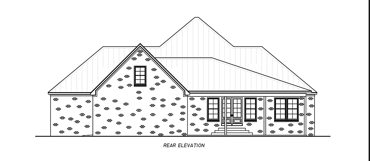 Country, Farmhouse, Traditional House Plan 74667 with 3 Beds, 4 Baths, 2 Car Garage Rear Elevation