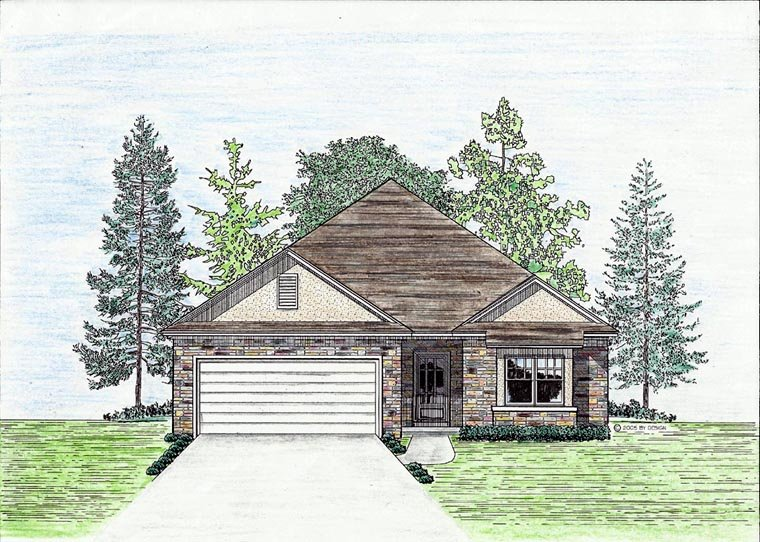 Cottage, Country, European House Plan 74702 with 3 Beds, 2 Baths, 2 Car Garage Elevation