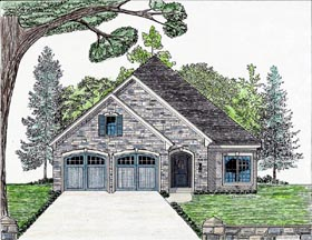 House Plan 74709   Cottage Country European Style Plan with 1954 Sq Ft, 2 Car Garage Elevation