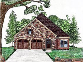 House Plan 74710 | Cottage Country European Style Plan with 1954 Sq Ft, 2 Car Garage Elevation