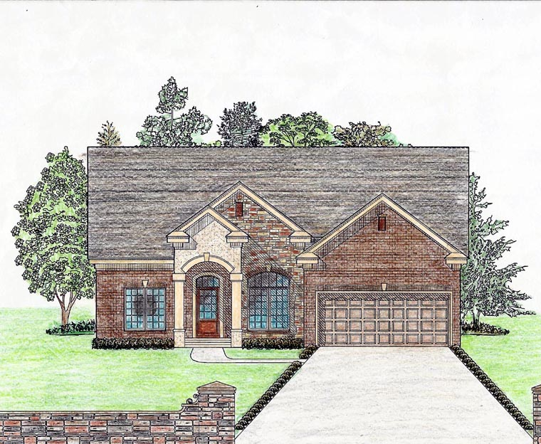 Cottage Country Craftsman Ranch Southern House Plan 74724 Elevation