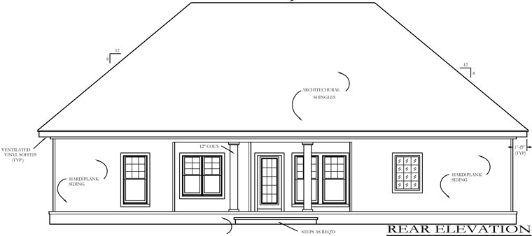 Bungalow Cabin Cottage Country Craftsman Farmhouse Southern Traditional House Plan 74736 Rear Elevation