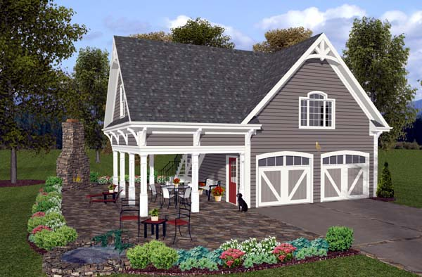Craftsman, Traditional 2 Car Garage Apartment Plan 74803 with 1 Beds , 1 Baths Elevation