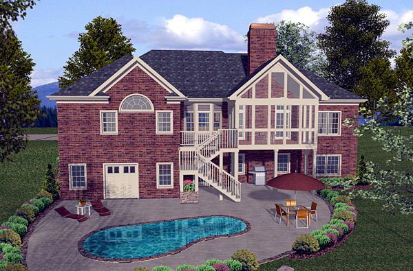 Craftsman European House Plan 74807 Rear Elevation