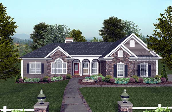 Craftsman , Ranch House Plan 74811 with 3 Beds, 4 Baths, 3 Car Garage Elevation