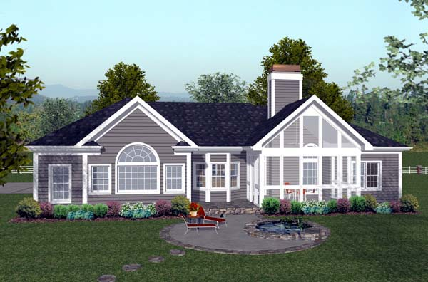 Craftsman Ranch House Plan 74811 Rear Elevation