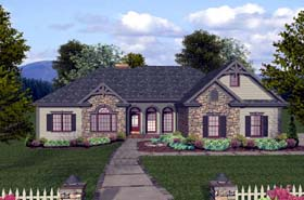Craftsman European Ranch House Plan 74812 Elevation